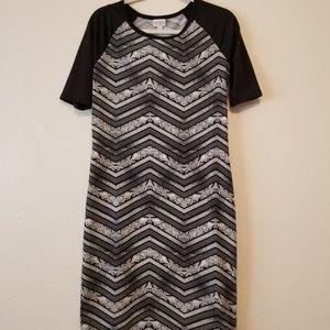 LuLaRoe Julia Black Patterned Dress L